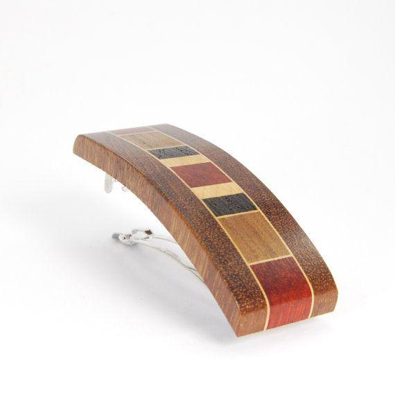 Mosaic  wood barrette / french clip / natual wood