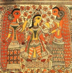 madhubani art of india - The paintings are mostly pictorial depictions of gods and goddesses from the Hindu pantheon like Rama, Krishna, Shiva, Ganesh, Lakshmi, Durga and Kali. Durga, the goddess of energy, sitting on her vahana (vehicle), a lion, is often seen in their creations