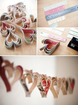 How to make a layered heart garland from paper - great for Valentines day - check out the other crafts on this site too