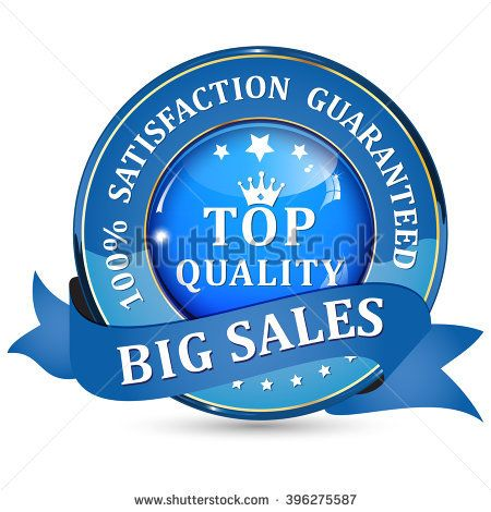 Big Sales. Top quality. 100% Satisfaction guaranteed - blue shiny glossy icon / button with ribbon.