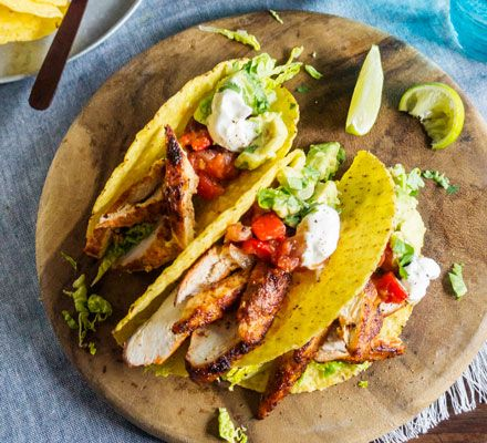 The same tasty Mexican dish with half the fat of standard tacos. Pile on the chicken, salsa and guacamole, and build yourself a delicious dinner