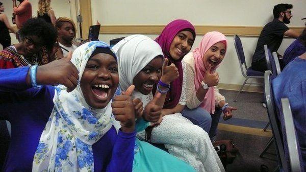 Teen poets Kiran Waqar, Balkisa Abdikadir, Hawa Adam and Lena Ginawi comprise the slam poetry quartet, Muslim Girls Making Change