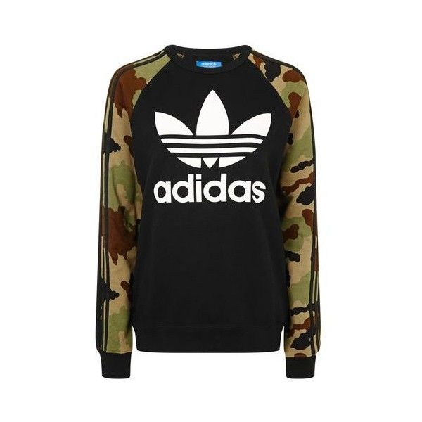 Camo Print Trefoil Sweatshirt by Adidas Originals ($71) ❤ liked on Polyvore featuring tops, hoodies, sweatshirts, topshop and topshop tops