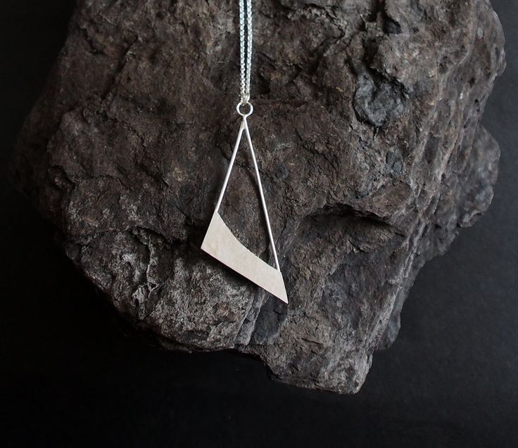 HALVDAN unique handmade sterling silver jewellery jewelry necklace pendant triangle geometric hand crafted original design minimalistic gift by OLOVdesigns on Etsy