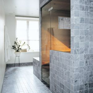 Soapstone is a perfect material for bathrooms and saunas, since it restores the heat. Especially if one has heating elements on on the floor. Soapstone is not slippery when wet.