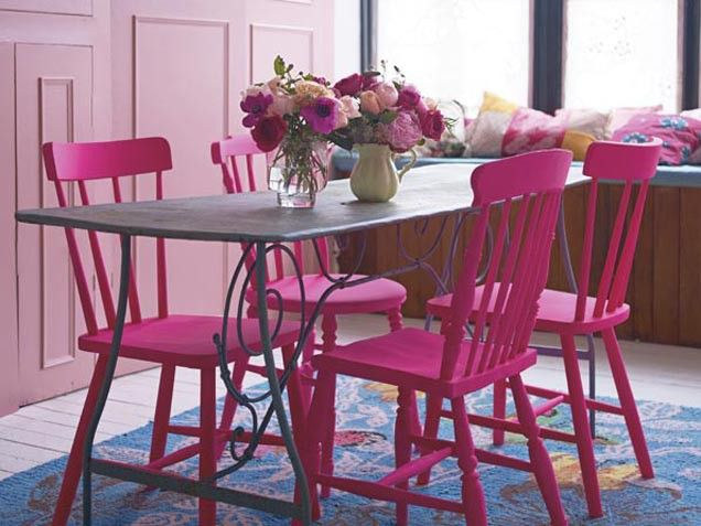 Pink Room Decorating Ideas For Spring - iVillage- I think I love this! That table I've been wanting from IKEA and add pink chairs! Voila!