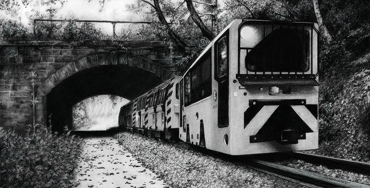 Tren del Museo de Samuño (grafito - 30x40 cm).