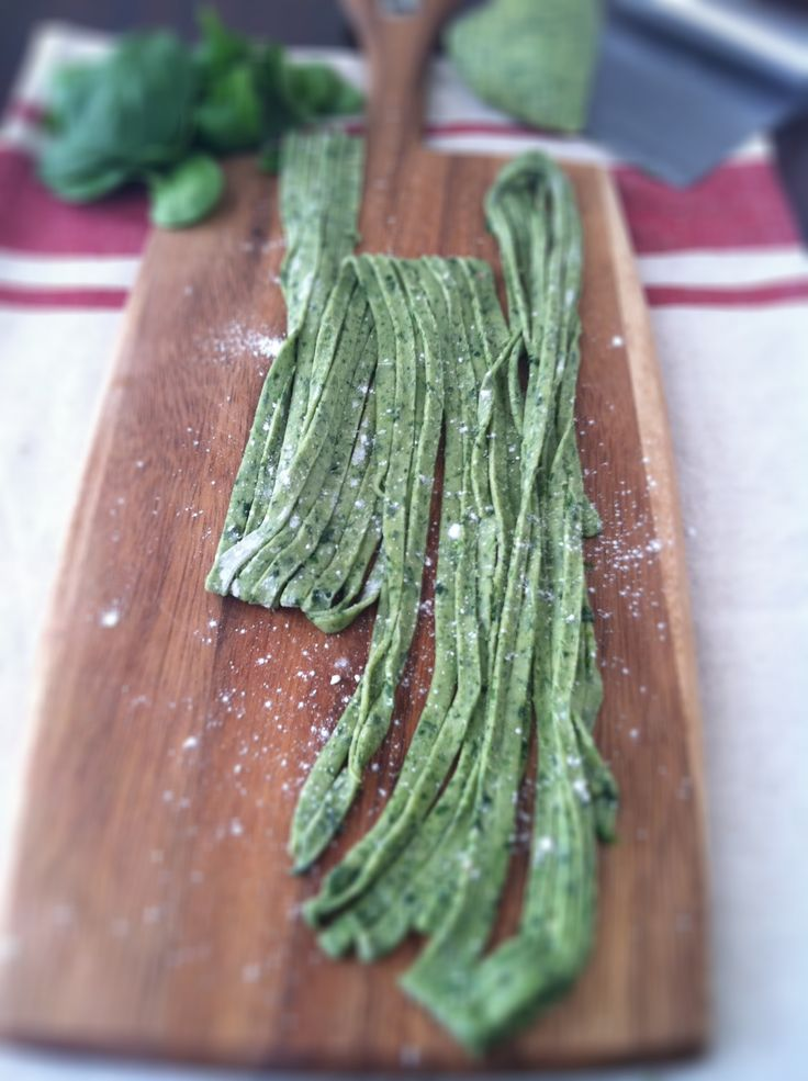 Homemade Spinach Pasta. One day, when I get my kitchenaid mixer and pasta attachment.