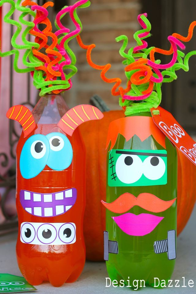 "Halloween neighborhood boo idea Mr. Soda Head ""Boo Brew/""Boo Juice"" Step by step instructions with free printable...very cute"