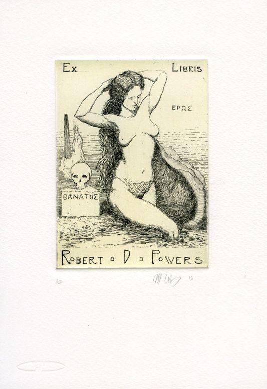 Ex Libris for Robert D. Powers, etching, 8cm x 12cm by Matthew James Collins