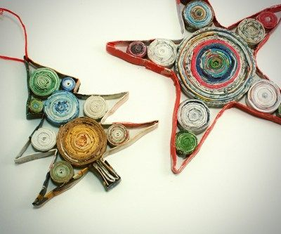 paper quilling recycled magazine Christmas tree ornaments tutorial