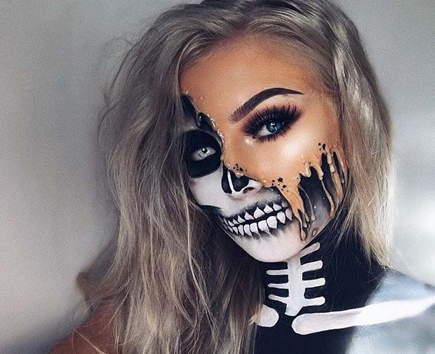 Melting Skeleton, Unique Halloween Makeup Idea