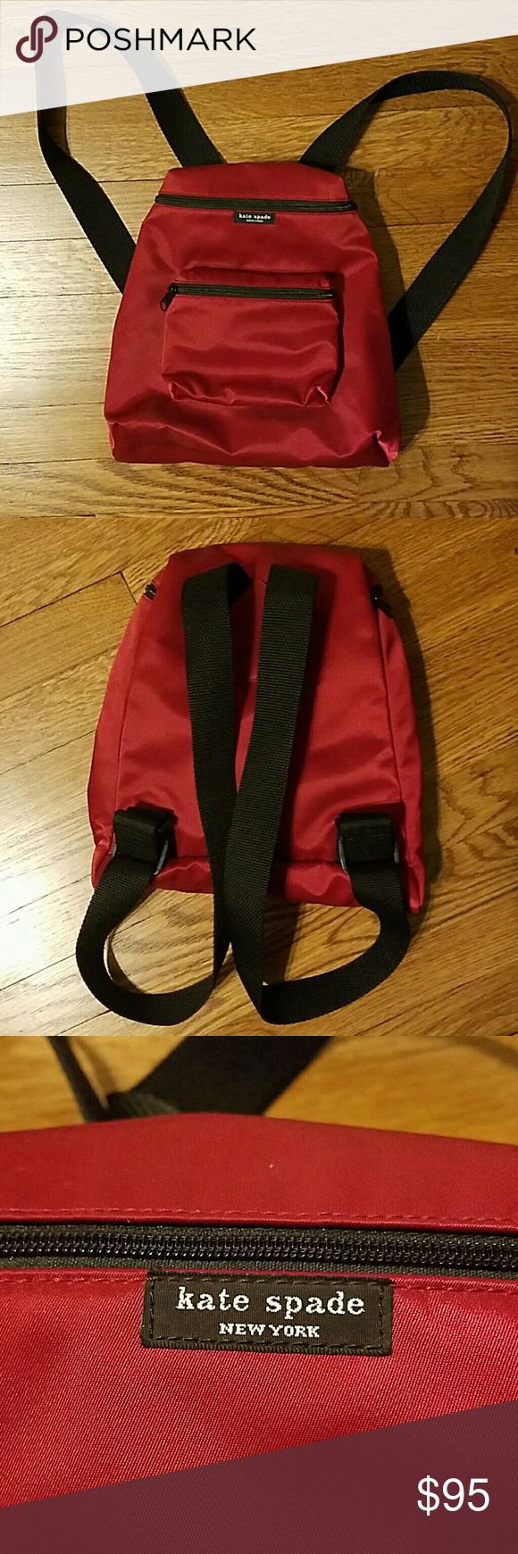 Kate Spade nylon backpack (vintage) Red nylon backpack with black interior and adjustable straps. From the early 2000s. Brand new condition. Used once or twice. kate spade Bags Backpacks