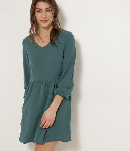 Sukienka zielona z baskinką