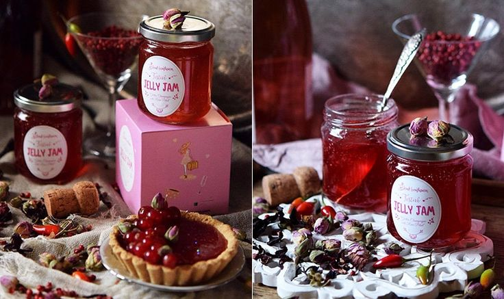 Jelly Jam from rose champagne, rose petals, ibiscus, chili and silver particles, a product of Greece