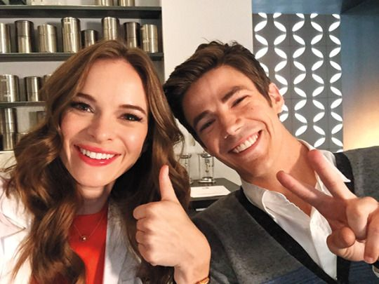 """The Flash 2x02 BTS - """"Everybody is so excited to be back,"""" Danielle Panabaker (with Grant Gustin) tells EW."""