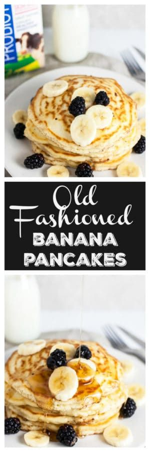 These Old-Fashioned Banana Pancakes are the perfect breakfast for weekday mornings or a weekend treat! They're light and fluffy, easy to make, and fun to eat. This simple pancake recipe is adapted from an old church cookbook. These banana pancakes are made from scratch and topped with maple syrup. Homemade is always best! #ad @kempscows #pancakes #banana #oldfashioned