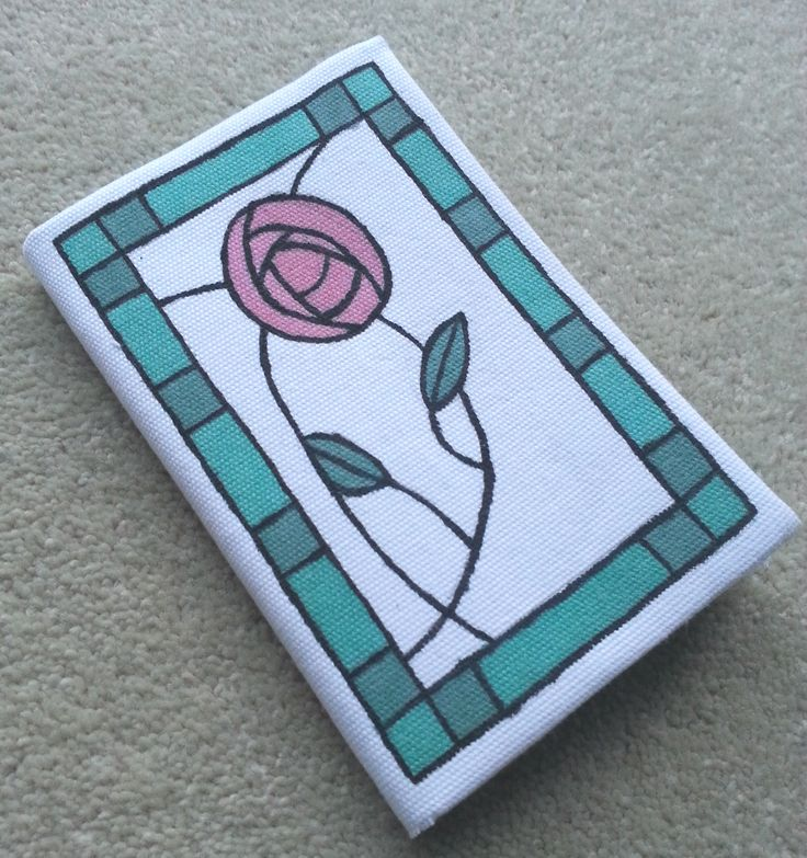 To make this Rennie McIntosh style notebook for my Mum, I covered a notebook in white material, drew the McIntosh design on with a pencil and then coloured in the pattern with Humbrol enamel paint (not the most traditional method but I didn't have any fabric paint so I borrowed some from my stash of model aircraft paints!)