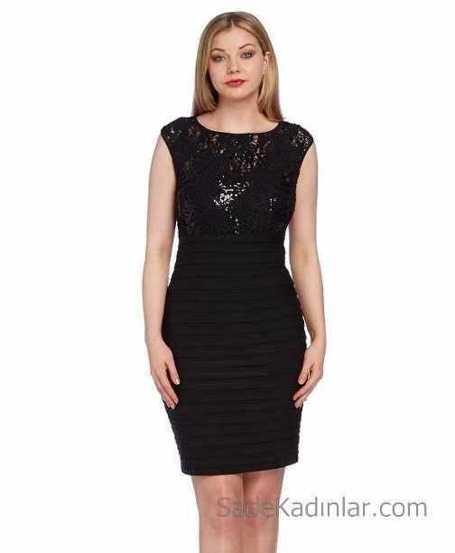 Siyah Elbise - Üst Kısmı Payetli Kısa Pilili Kalem Elbise