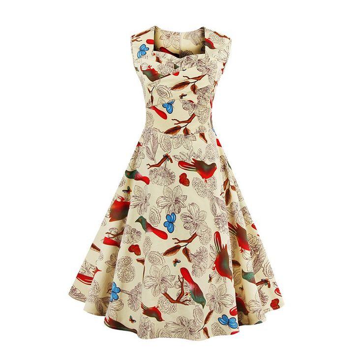 Vestido Vintage color crema. Puedes adquirirlo en http://www.street21deluxe.com/es/ropa-pin-up-y-rockabilly/1733-vestido-vintage-retro-crema-s-a-4xl.html