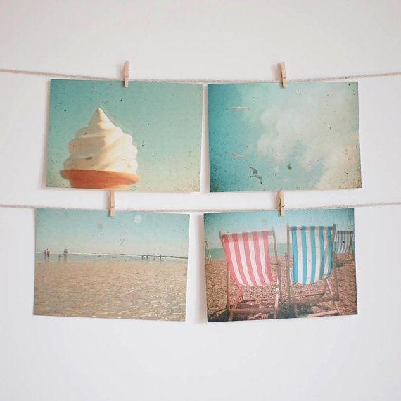 The Sea - Set of Four Postcards. Seaside decor,beach art, ice ...