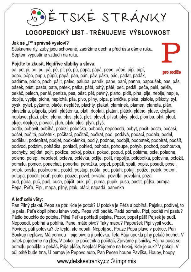 logopedický list P