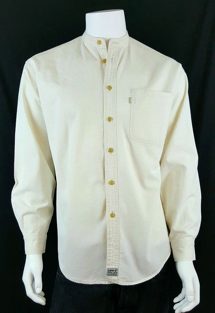 LEVIS Cream Collarless Button Front Long Sleeve Shirt Mens Size M VTG '90s #Levis #ButtonFront #Casual