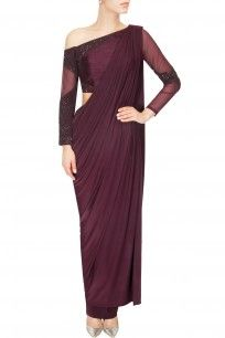 Wine draped sari with off shoulder beaded blouse