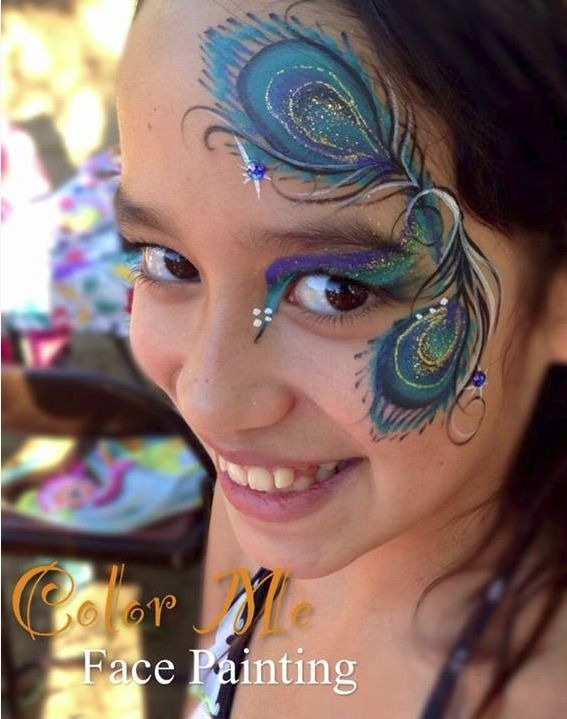 Peacock Face Painting - Color Me Face Painting