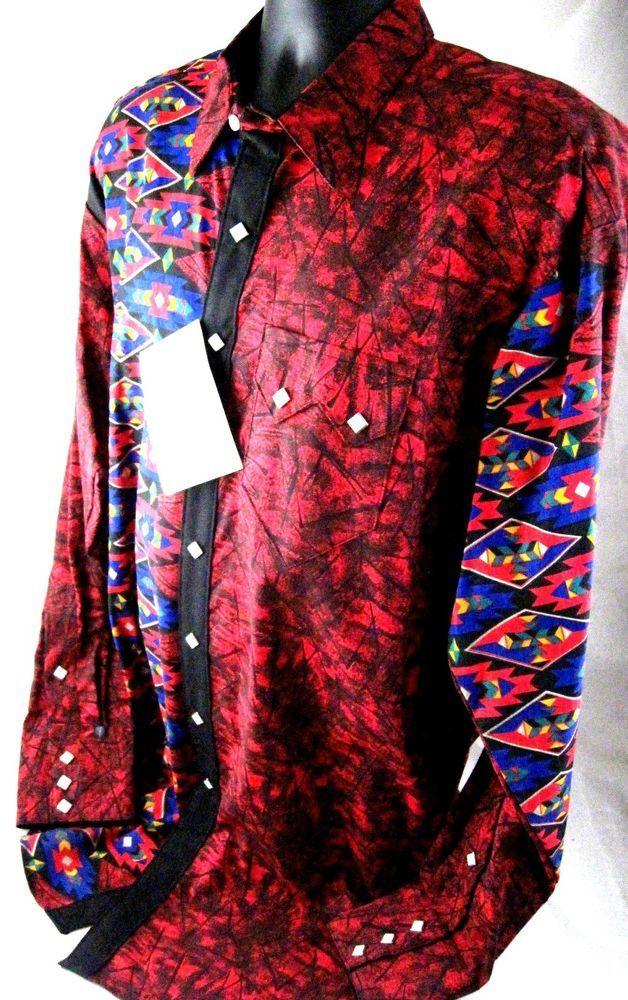 New with tags vtg mens l large red black rockmount ranch for Ranch dress n rodeo shirts