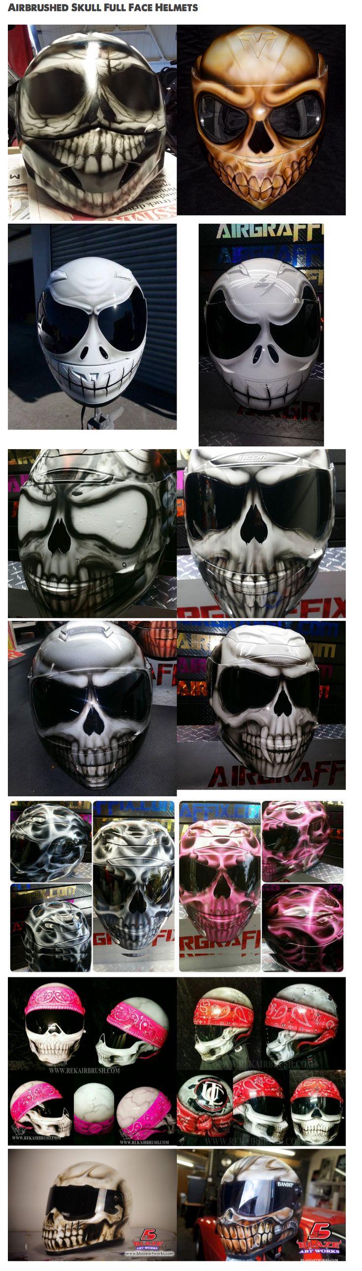 Airbrushed Skull Motorcycle Helmets