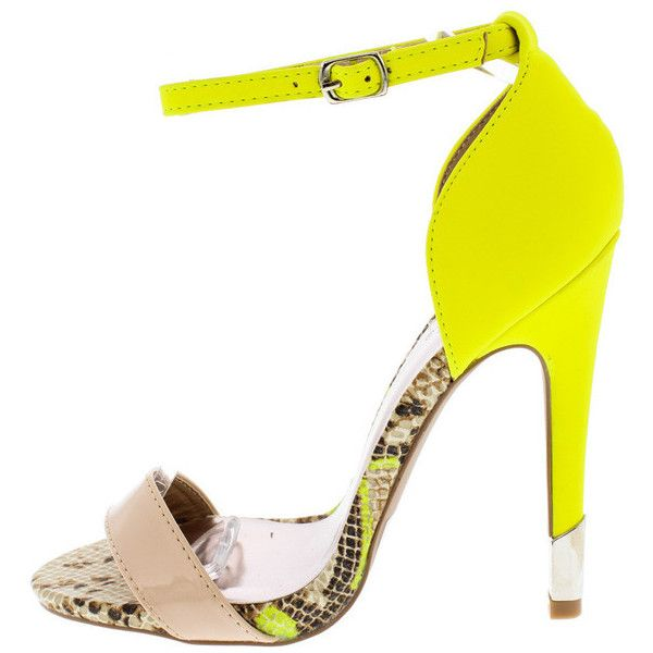 GLEE190A NEON YELLOW SNAKE OPEN TOE GOLD STILETTO HEEL (195 MXN) ❤ liked on Polyvore featuring shoes, open toe flat shoes, gold stilettos, gold wedge shoes, gold flats and flat shoes