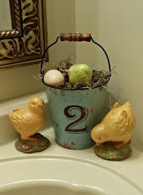 Rustic Easter decor.  cute  Easter idea for the bathroom!  I really like this.