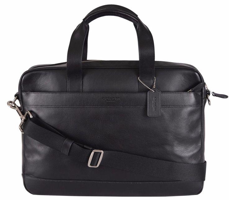 COACH Men's F54801 $450 Leather Hamilton Briefcase Crossbody Laptop Bag, BLACK
