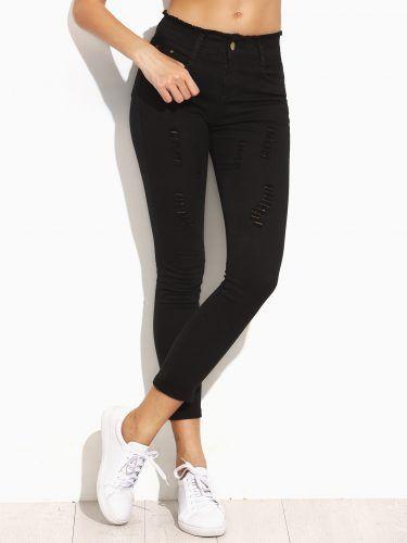Black Ripped Frayed Waist Skinny Jeans
