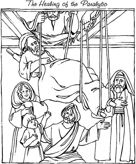 mark 2:1-12 coloring sheets | New Testament #12