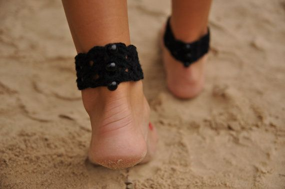 Black Crochet Barefoot Sandals-Anklet-Nude shoes-Foot by barmine