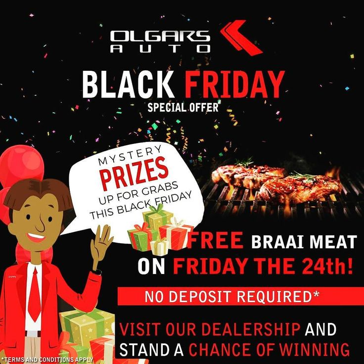 #BLACKFRIDAY is almost here and we are giving you a chance to win BIG!  Visit us this Friday for a special BRAAI where you will be entered into a draw to win a mystery prize on the spot when you apply!  See you then!