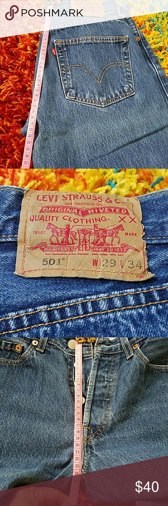 Levi's  (W29 L34) 501 Worn jeans no stains no tares. Nice pair of fitting jeans. All jeans sales are final. Please ask questions before purchasing item. Offers considered. Levi's Jeans Bootcut