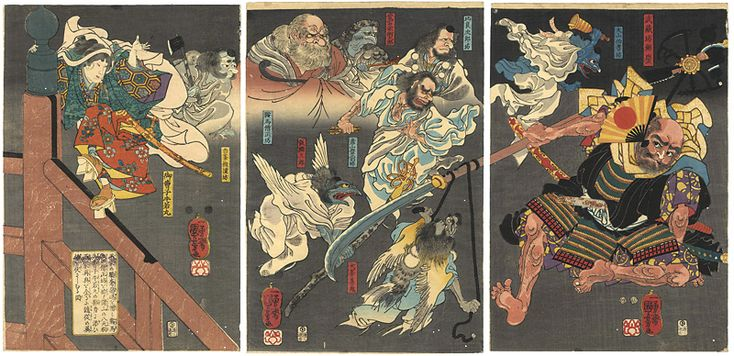 Discomfiture of Benkei on Gojo Bridge by Yoshitsune, assisted by the Tengu by Utagawa Kuniyoshi 平家の驕奢悪逆を憎み鞍馬山の僧正坊を始め諸山の八天狗御曹司牛若丸の影身を添ひ源家再興を企る随従の英雄を伏さしむる図 国芳