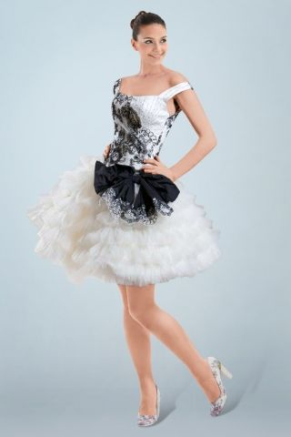 Funky Wedding Dresses  - short black and white wedding dress