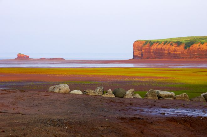Sunset over the cliffs in the Blomidon park area of Nova Scotia