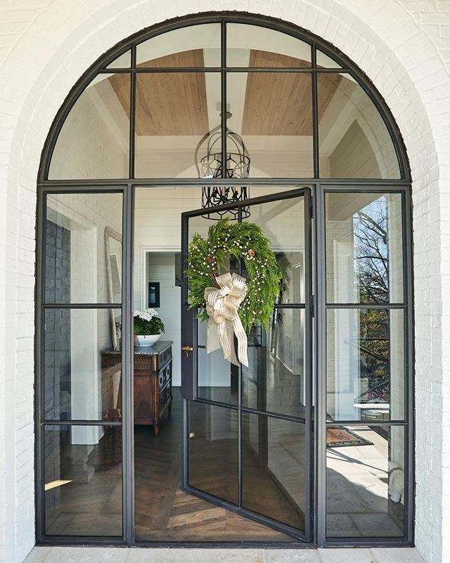 Christopher Transitional Estate Custom Residential Arched Glass Door Glass Doors Interior Steel Frame Doors