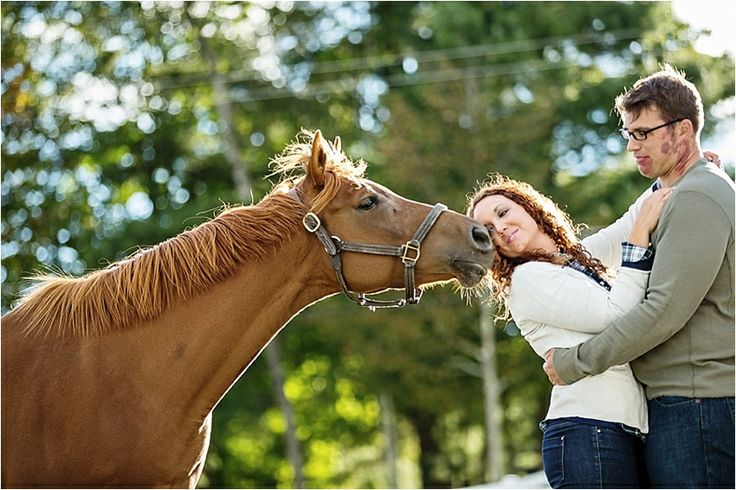 Summer engagement photo - couple with horse in Upstate New York