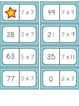 Multiplication facts matching games for facts 2 through 12 - great for building fact fluency