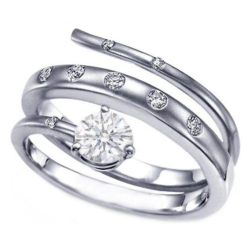 Intertwined Bezel Set Snaked Swirl Diamond Engagement Ring 0.18 tcw.