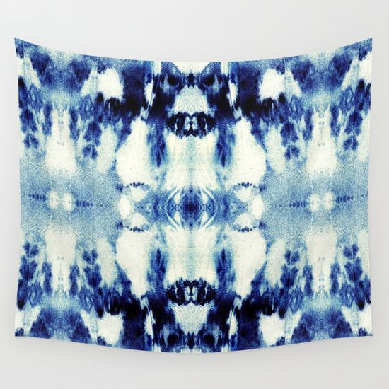 Tie Dye Blues Wall Tapestry by Nina May Designs