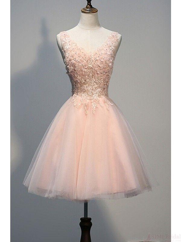 Elegant Applique Tulle Knee Length Short Party Dresses Homecoming Dresses #SIMIBridal #promdresses
