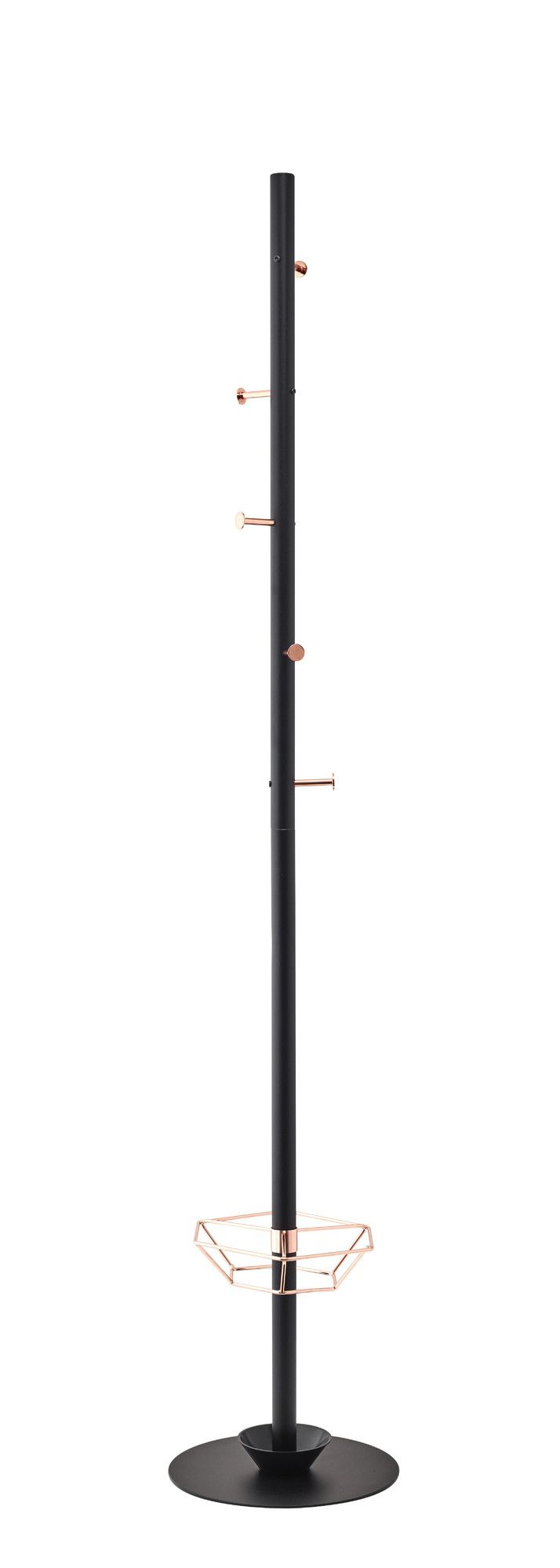 Features:  -Five functional coat hooks are made of shiny copper, giving this item a stylish flare.  -It's sleek and beautiful coat rack.  Style: -Contemporary.  Finish: -Black.  Hardware Finish: -Stai