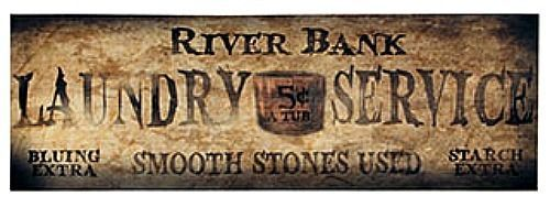New Primitive Country RIVER BANK LAUNDRY SERVICE Canvas Wall Hanging Plaque Sign #RusticPrimitive